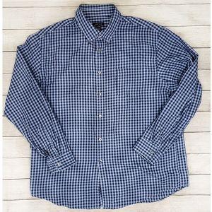 Van Heusen Blue Plaid Button Down Shirt